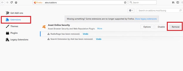 get rid of avast security firefox