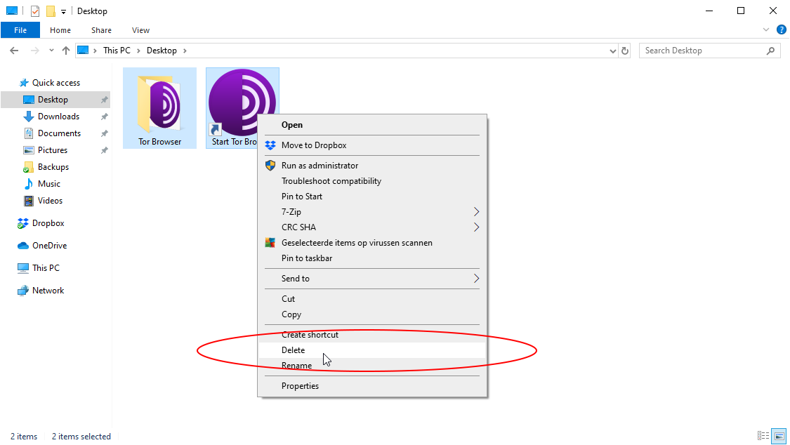 how to remove tor browser from Windows 10